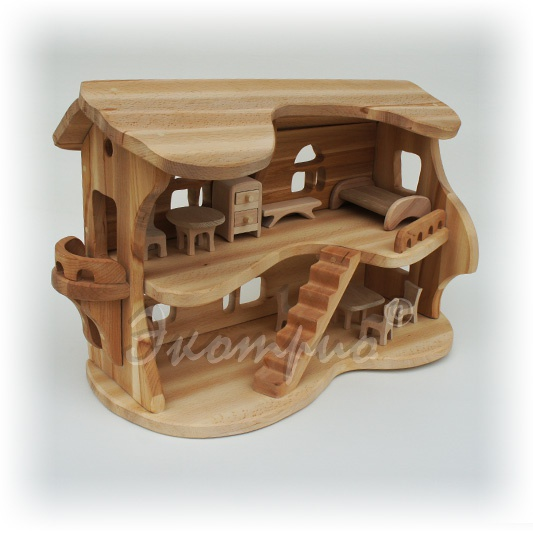 Детский кукольный домик из дерева фото